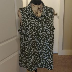 Olive Floral Sleeveless Blouse XL